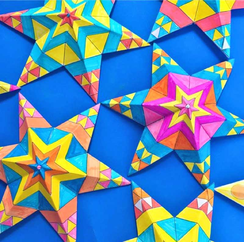 How to print and color in your own Mexican paper star decorations