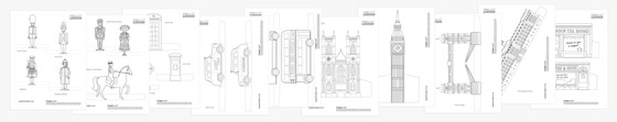 London printable activity pack to color-in: Famous Landmarks, people and figures!