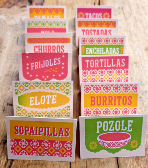 Mexican food signs for a fiesta! Perfect for Day of the Dead, 5 de Mayo and delicious food tasting events!