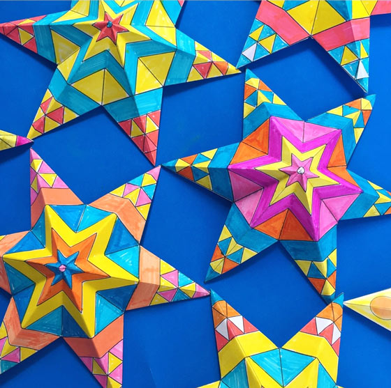Mexican paper star ornaments tutorial printable craft for Paper star pattern template