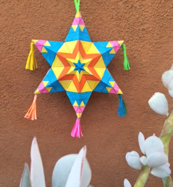 Mexican paper star ornaments: Activity worksheets, coloring-in paper star for 5 de Mayo!