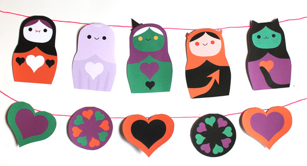Spooky Halloween papercraft garland decoration. Homemade party ideas templates, activities, patterns and cutouts