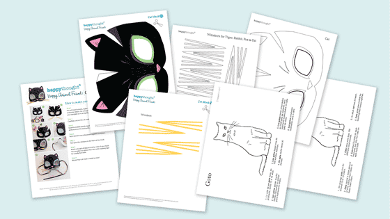Worksheets For Cats Meow : Animal mask templates to print and play meow cat