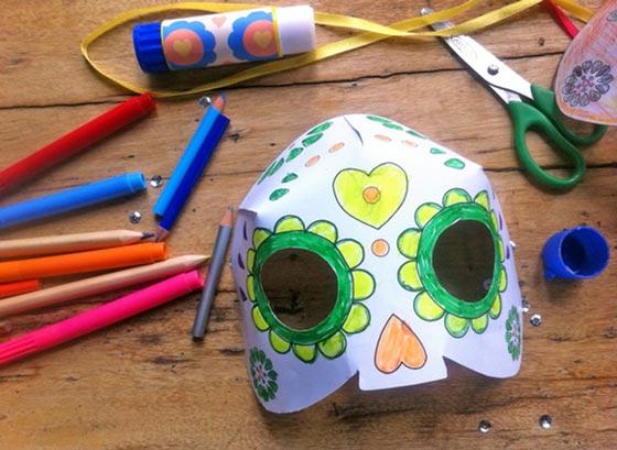 Coloring in mask Dia de los Muertos printable template!