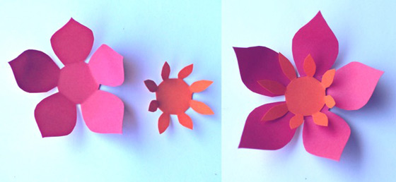 Paper flowers classroom craft activity easy make paper flowers orange paper flowers how to assemble and orange and pink paper flower mightylinksfo Choice Image