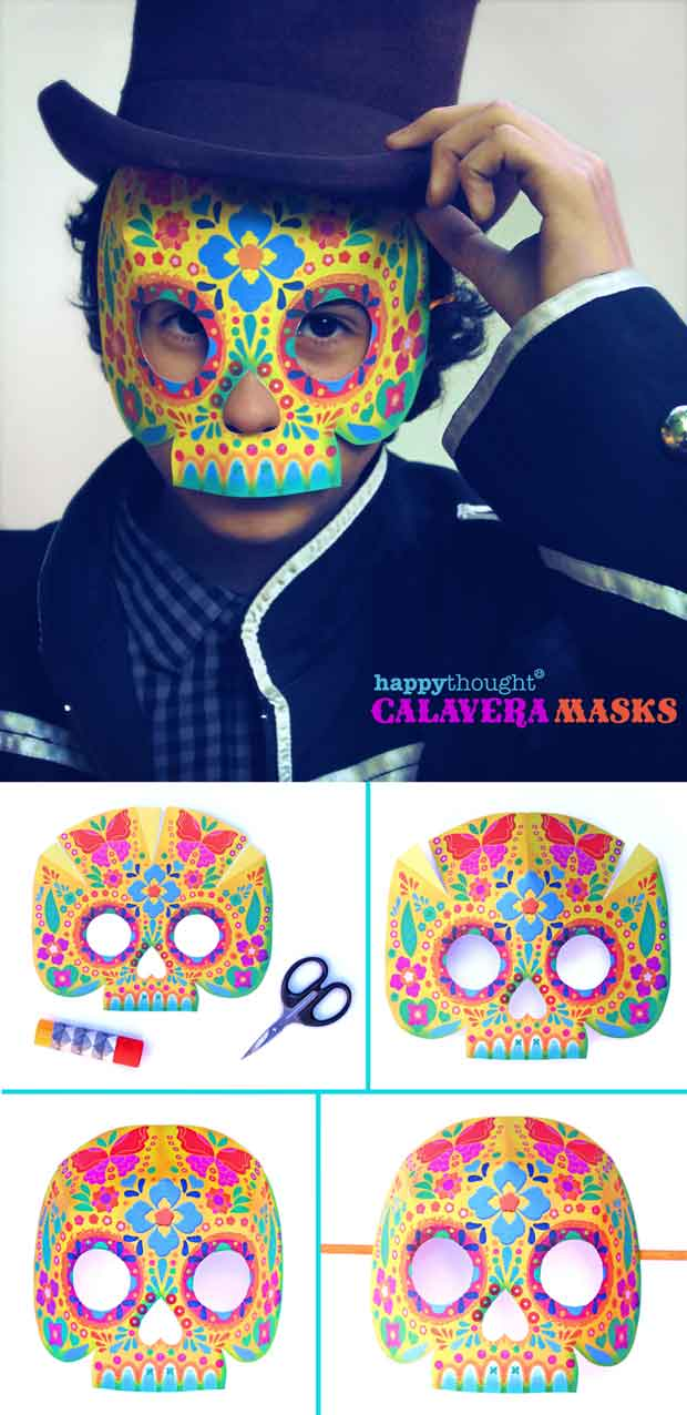 Colorful mariposa calavera mask for Day of the Dead costume ideas