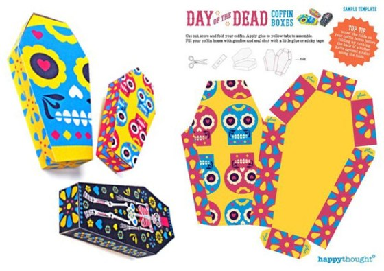 Ideas and inspiration for a Day of the Dead celebration. Day of the Dead coffin printed paper templates and patterns includes 23 tutorials, printables and decorations, including invites, favor boxes, masks, popcorn boxes, cupcake wrappers and toppers and much more for the ultimate fiesta!