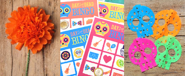 Day of the Dead paper flowers, loteria game and papel picado calaveras