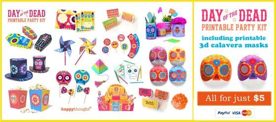 Dia de los Muertos, Day of the Dead printable calavera masks: Craft templates!