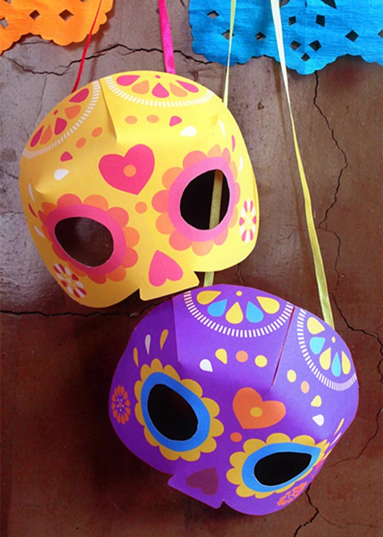 Simple mask craft ideas for Day of the Dead or Dia de los Muertos printable fiesta kit!