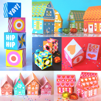 DIY gift box pattern printable - Happythought's magnificent 7 printable gift boxes!
