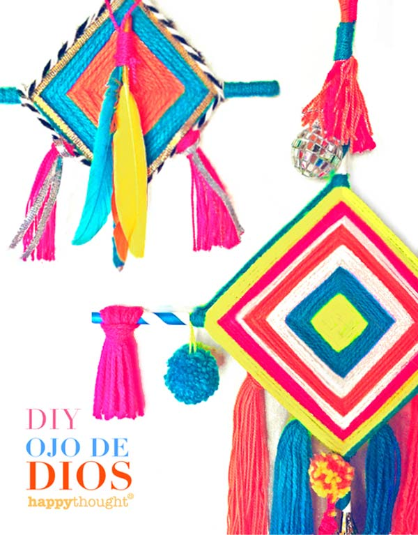 Make diy ojo de dios at home with free instruction and tutorial
