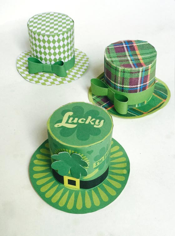 Three easy St Patricks Day party hat templates to make!