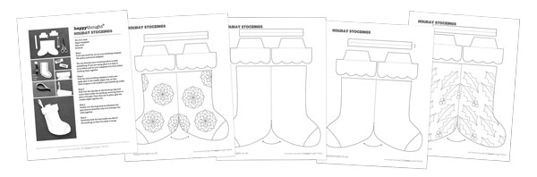 festive craft activty worksheets-stocking-templates