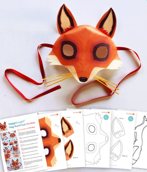 Fox mask template and instructions with some home made costume dress up tips!