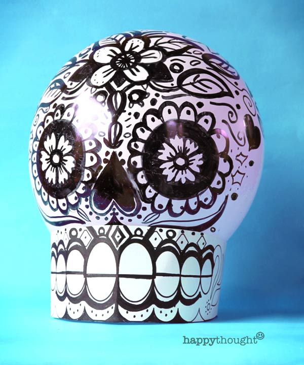 How to color in your own black and white balloon calavera skull tutorial and DIY template
