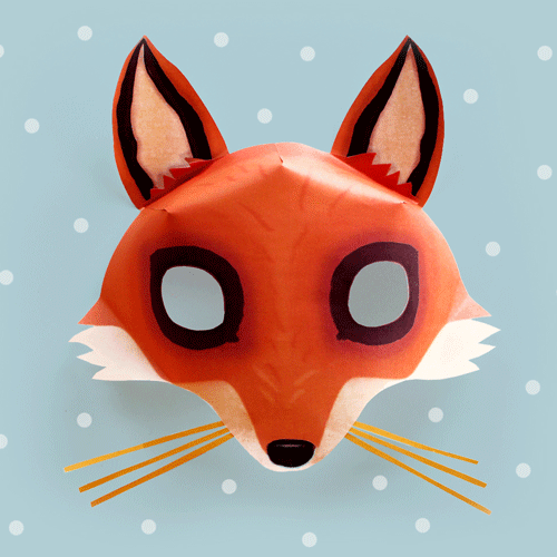 Vibrant image throughout printable fox mask