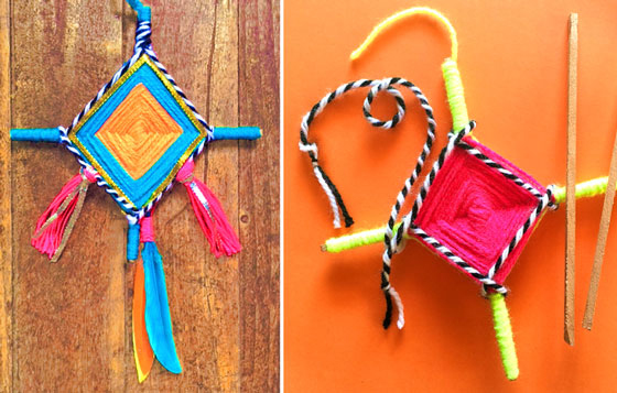 Easy how to make Ojo de Dios tutorial: Classroom and homeschool art activity!