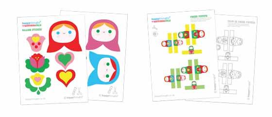 Matryoshka dolls finger puppets and balloon sticker templates