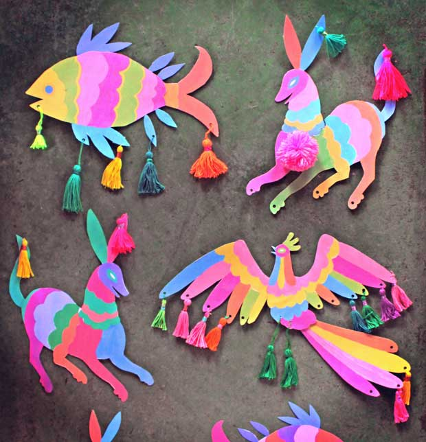Otomi inspired wall art with tassels: Cinco de Mayo craft activity and decoration idea