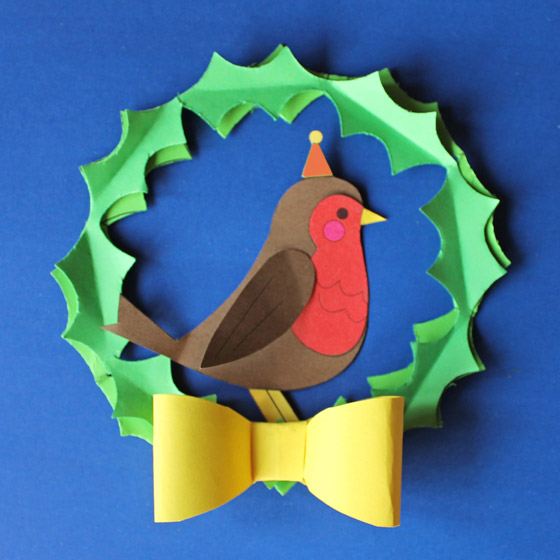 Robin red breast in paper wreath pattern with instructions: Happythought Holiday craft activity pack!