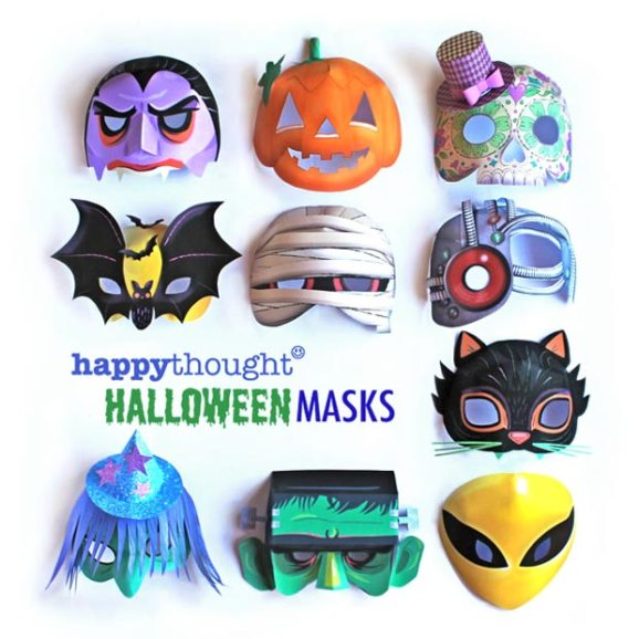 Printable Halloween mask templates to make:Alien, Frankenstein, Cat, Witch, Mummy, Calavera, Pumpkin, Cyborg, Bat and Vampire