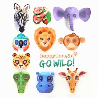 Printable wild animal masks template african savanna jungle creatures