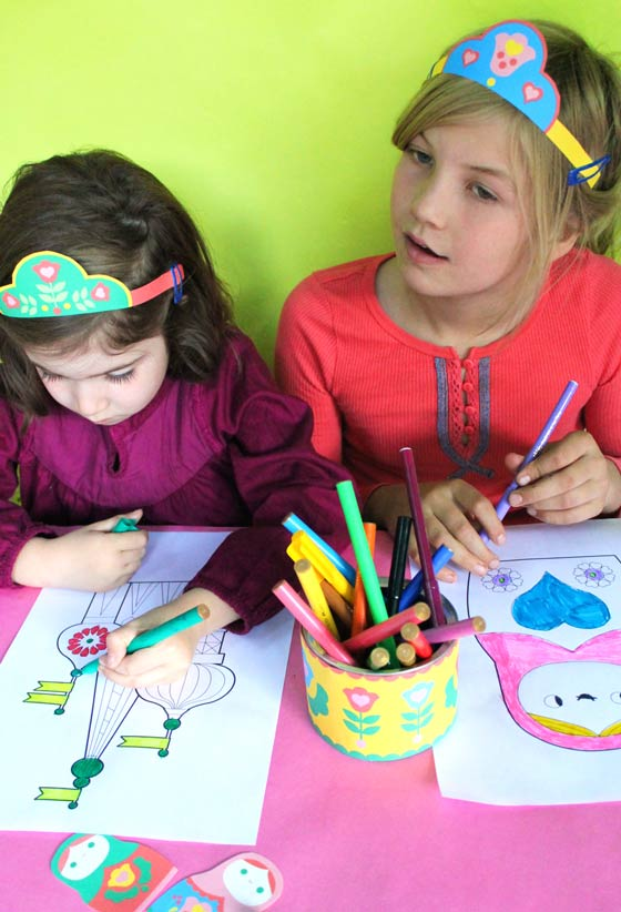 Russian Matryoshka doll party activities and coloring pages!
