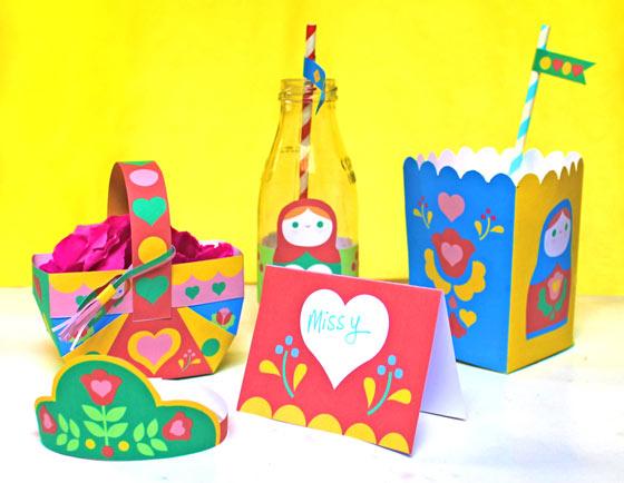 Russian Matryoshka doll papercraft party ideas!