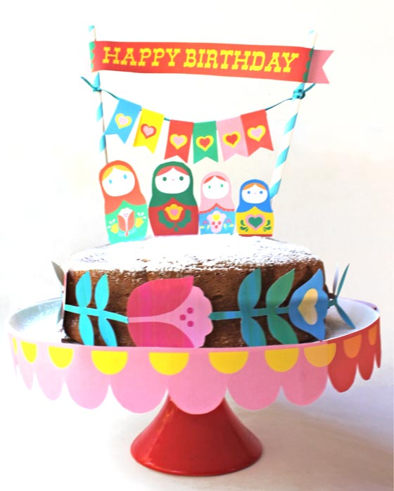 Easy to make Russian Matryoshka doll party cake decorations!