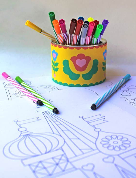 Stacking doll party coloring pages!