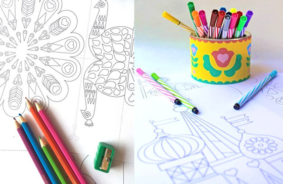 Springtime craft ideas: Spring color-in activities: Peacocks and Matryoshka Dolls!