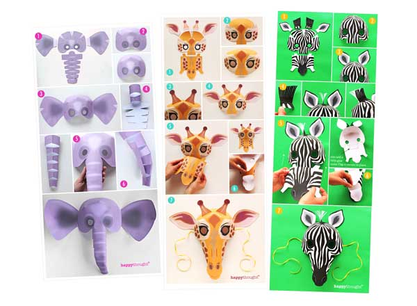 How to make a Wild animal masks: Lion, Hippopotamus, Elephant, Snake, Giraffe, Tiger, Monkey, Leopard, Crocodile and Zebr...click here to see more -