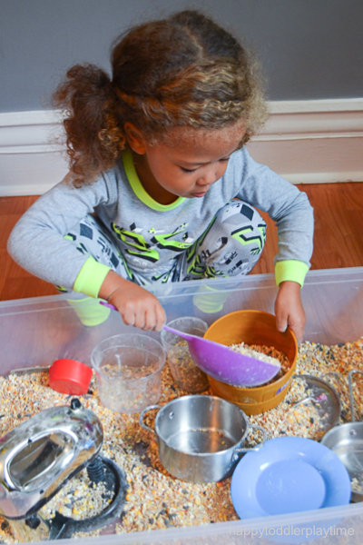 birdseed kitchen sensory bin for toddlers and preschoolers