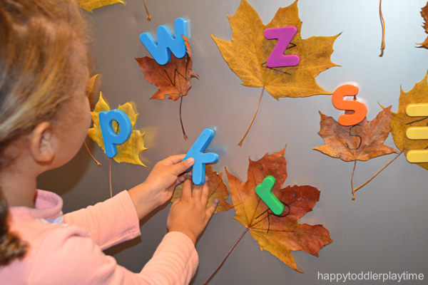 Magnetic Letter Leaf Match for toddlers and preschoolers