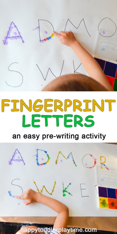 fingerprint letter Pre-writing Activities for preschoolers
