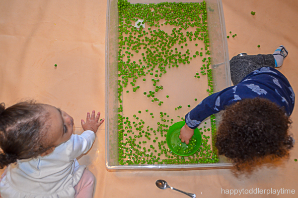 green pea sensory bin for toddlers and preschoolers