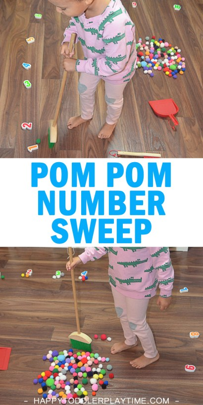 Pom Pom number sweep easy math activities for toddlers and preschoolers