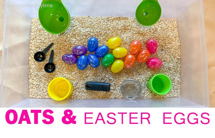 Oats and Easter Eggs Sensory Bin