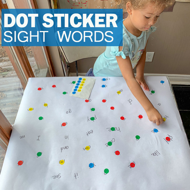 Sight word activities using dot stickers