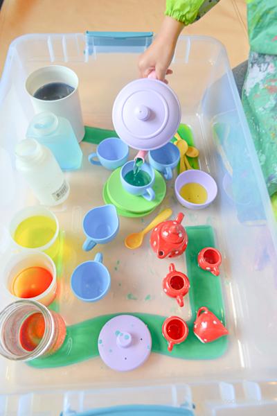 Colour Mixing Colour Mixing Sensory Bin for toddler & PreschoolerTea Party Sensory Bin for Kids