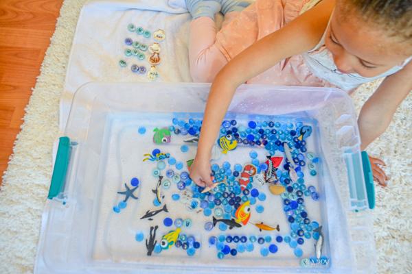Ocean Sight Word Sensory Bin for Preschoolers and Kindergartners.