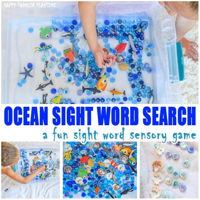 Ocean Sight Word Game & Sensory Bin for Preschoolers and Kindergartners.