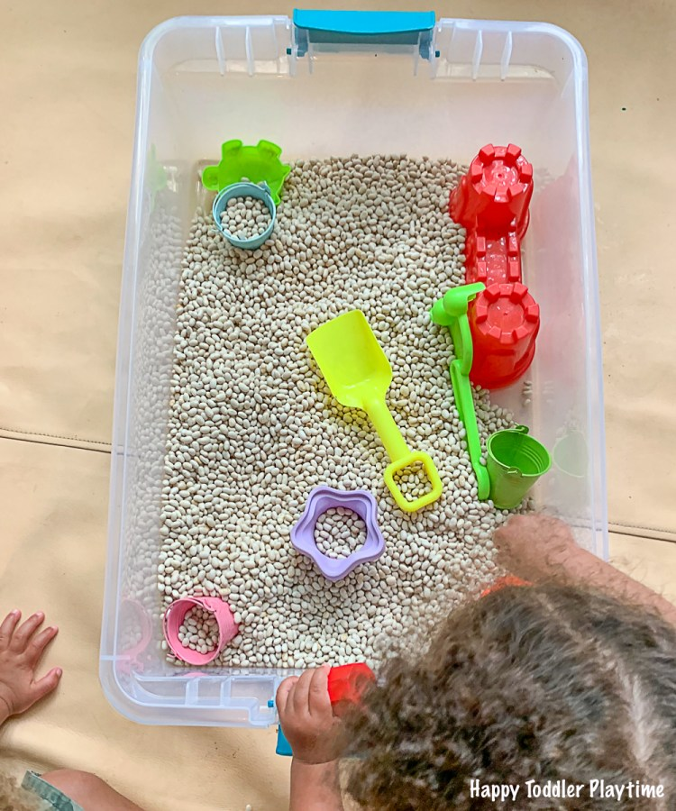Beach Sensory Bin for toddlers and preschooler