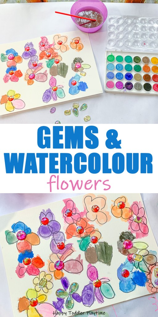 Gems and Watercolours Flower painting for toddlers