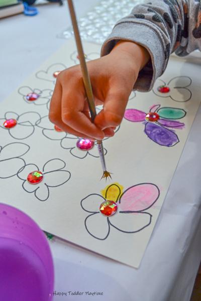 Watercolours Flowers Kids art project