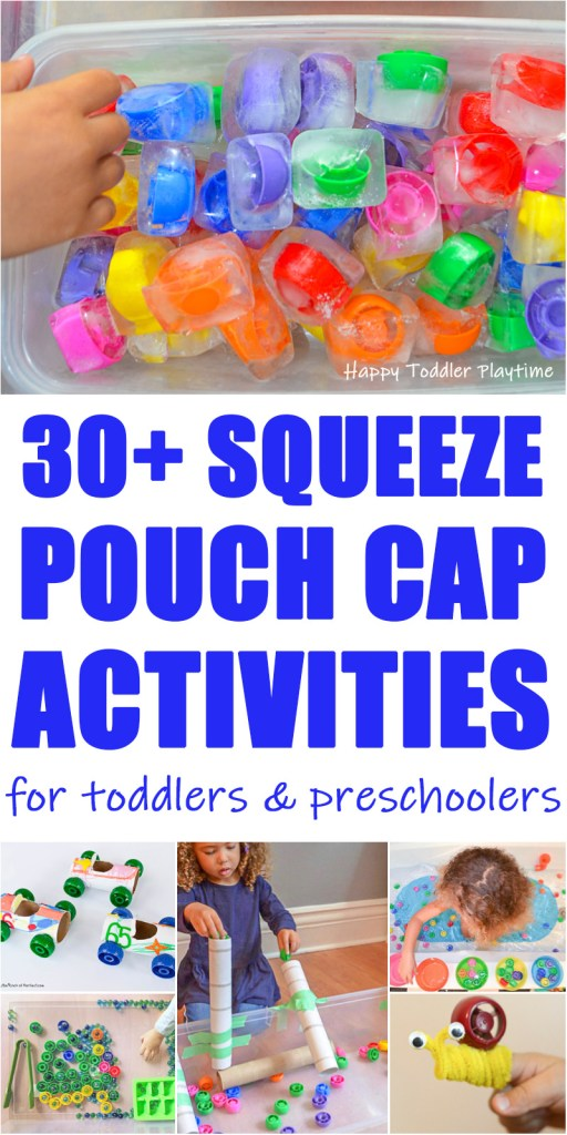 30+ Squeeze Pouch Cap Activities for toddlers and preschoolers