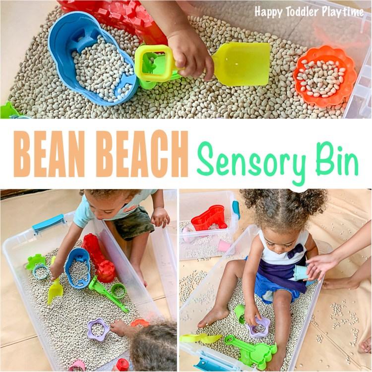 Bean beach sensory bin