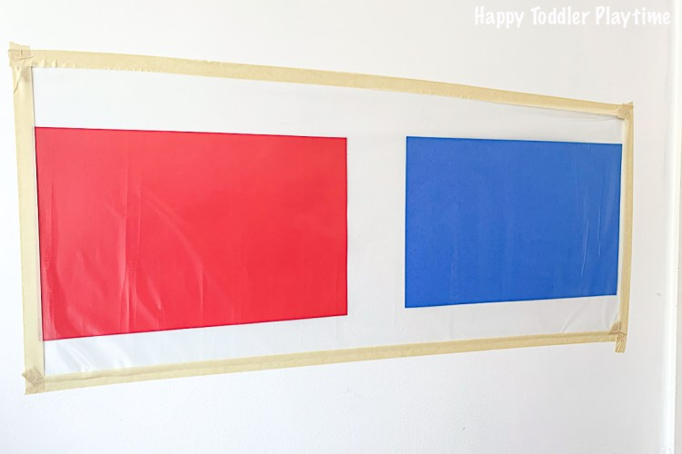 How to set up a colour sorting sticky wall for toddlers or preschoolers