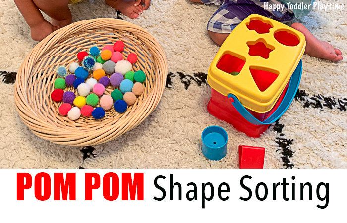 A Pom Pom shape sorting activity